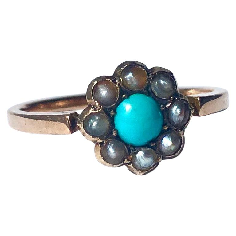 Edwardian Turquoise and Pearl 9 Carat Gold Cluster Ring