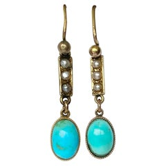 Edwardian Turquoise and Pearl 9 Carat Gold Dangle Earrings