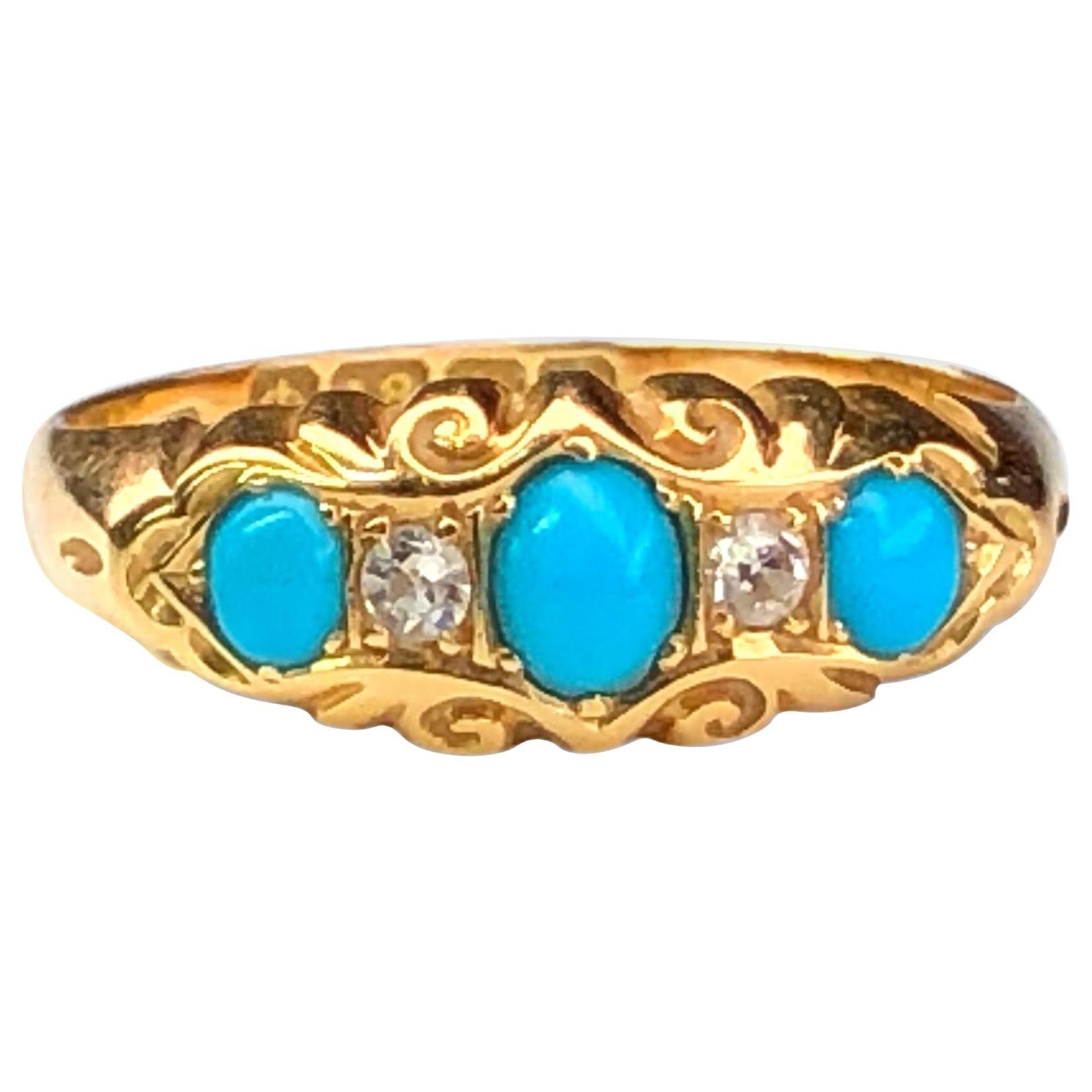 Edwardian Turquoise Diamond Five-Stone Antique Ring