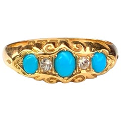 Edwardian Turquoise Diamond Five-Stone Antique Ring