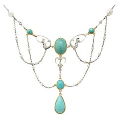 Edwardian Turquoise Pearl Diamond Platinum-Topped 14 Karat Gold Swag Necklace