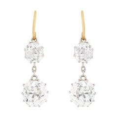 Edwardian Two-Stone Diamond Drop Earrings, circa 1910