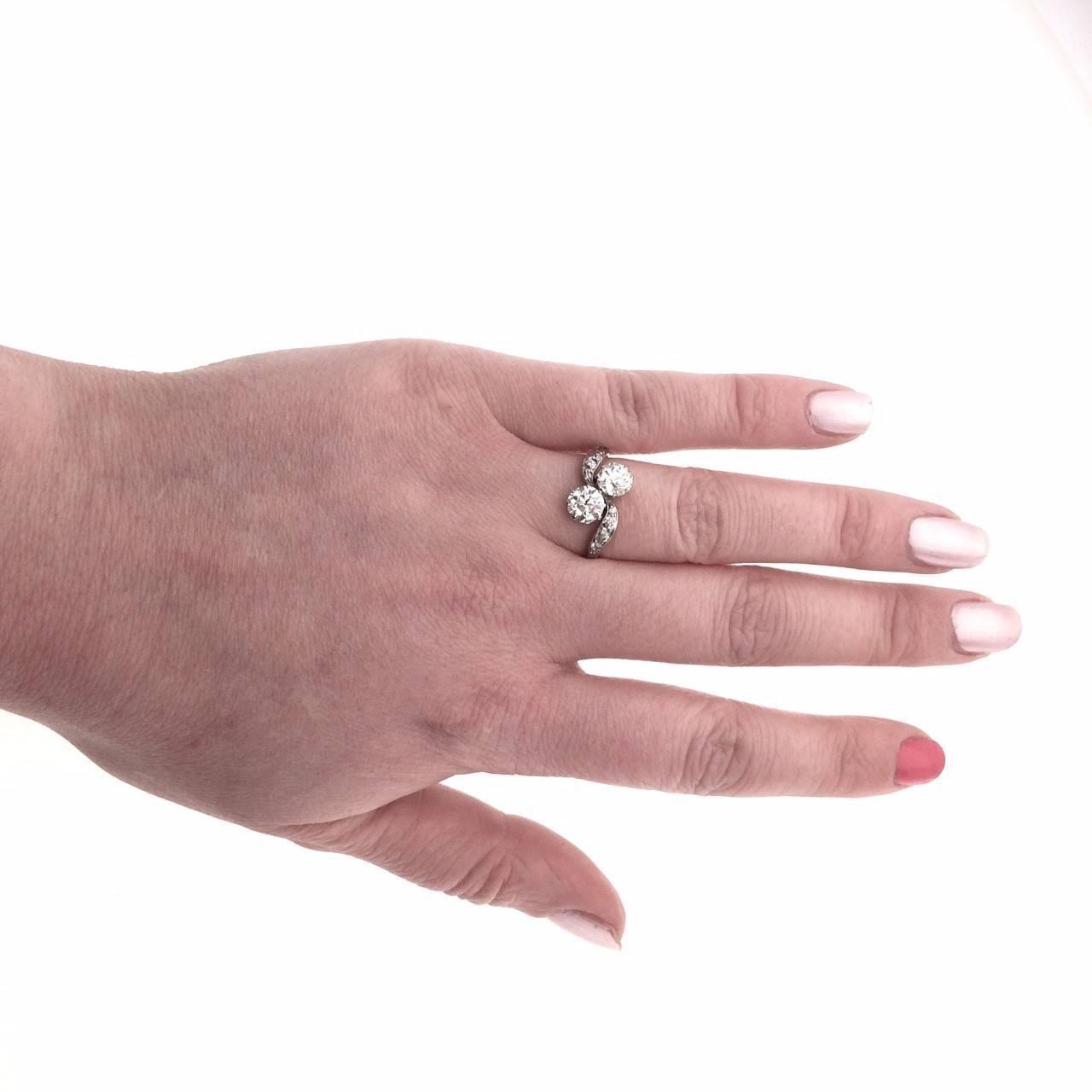 Edwardian Two-Stone Twist Diamond Engagement Ring at 1stdibs