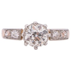 Edwardian Two-Tone Rose/White Gold 1.25 Carat Solitaire Diamond Engagement Ring