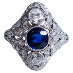 Edwardian Unheated Sapphire Diamond Ring