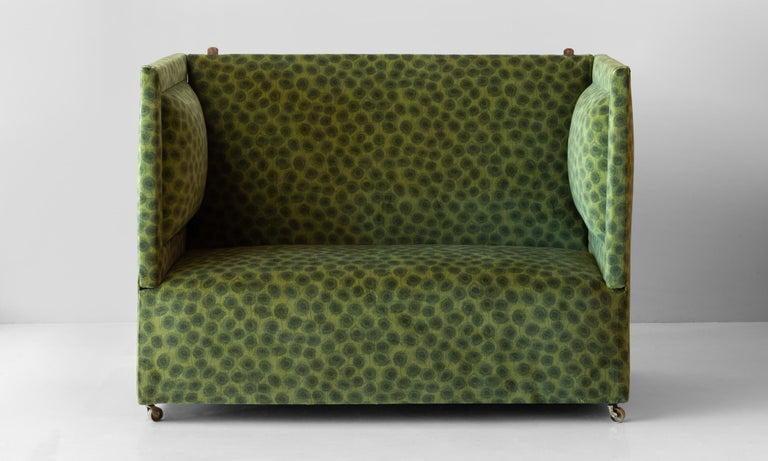 Edwardian Velvet Knole Sofa, England, circa 1910  Newly upholstered in Liberty of London Moss Velvet Fabric. Adjustable side arms.  55