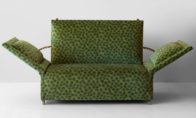 English Edwardian Velvet Knole Sofa, England, circa 1910 For Sale
