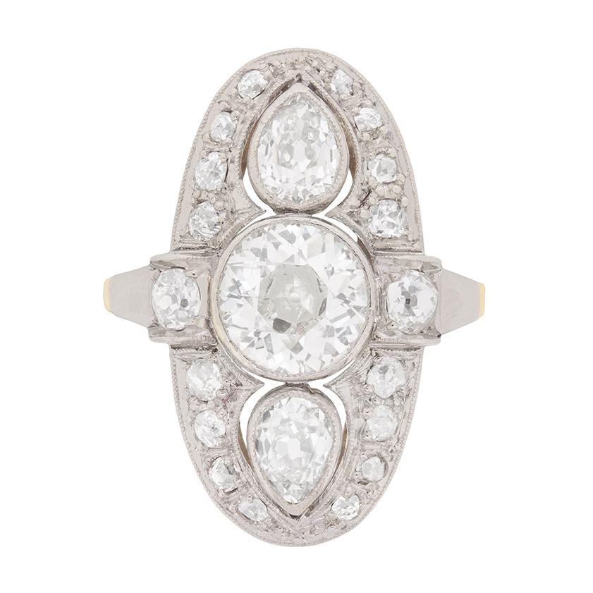 Edwardian Vertically Set Diamond Cluster Ring, circa 1910