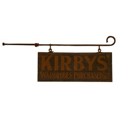 Edwardian Wall Hung Shop Sign, Kirbys' Wardrobes Purchased