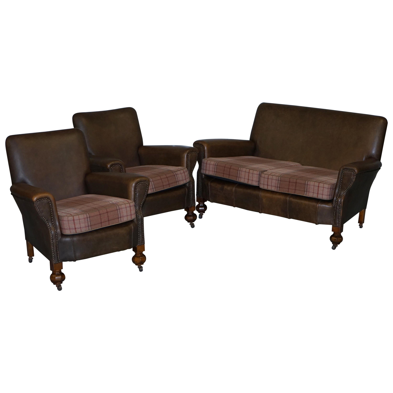 Edwardian Walnut Brown Leather Three-Piece Sofa, Armchairs Suite Tartan Cushions