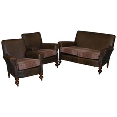 Edwardian Walnut Brown Leather Three-Piece Sofa, Armchairs Suite Tartan Cushions