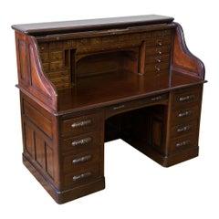 Edwardian Walnut Roll Top Desk