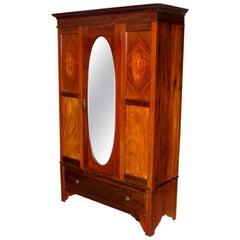 Edwardian Wardrobe Mahogany Mirrored Armoire