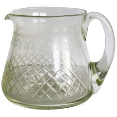 Edwardian Water Jug or Pitcher Crystal Lead Glass Cut and Engraved Holds 1.5 Pt