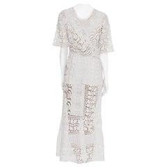Edwardian White Cotton Asymmetrical Oversized Lace Tea Dress
