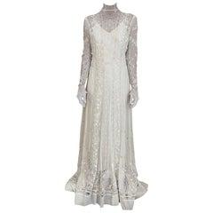 Edwardian White Cotton Embroidered Wedding Dress