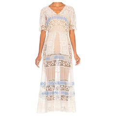 Edwardian White Cotton Voile & Lace Tea Dress With Rare Blue Embroidery