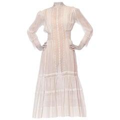 Edwardian White Cotton Voile Midi Length Tea Dress With Greek Key Lace & Long S