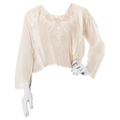 Edwardian White Cotton Voile Oversized Top With Very High Quality Hand Embroide