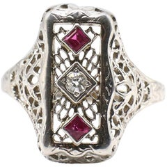 Edwardian White Gold Diamond and Ruby Navette Ring