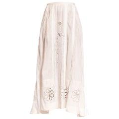 Edwardian White Hand Embroidered Linen Eyelet Lace Skirt
