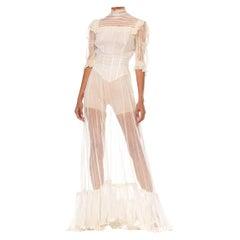 Edwardian White Organic Cotton Net Short Sleeved Tea Dress With Slight Train