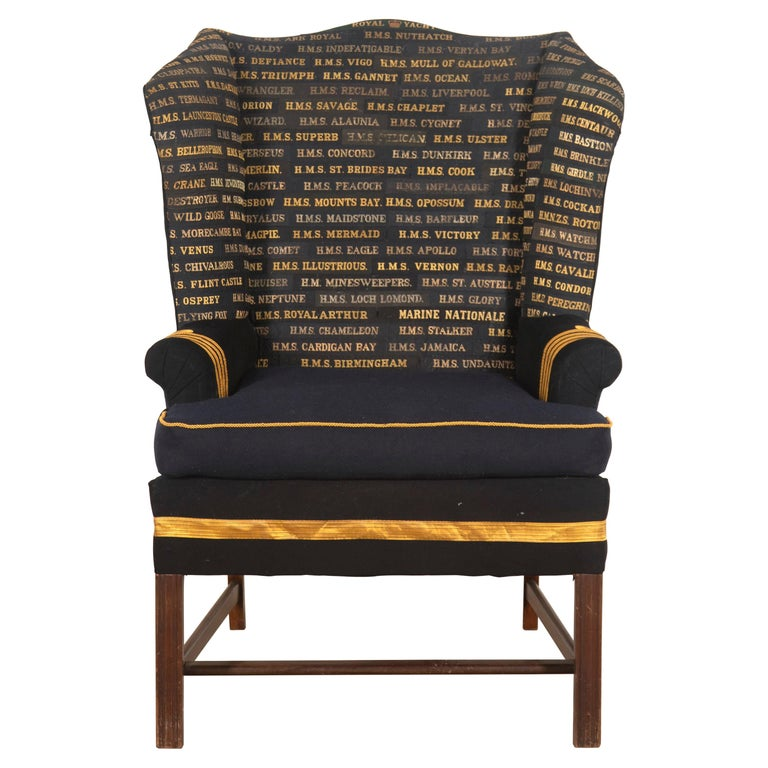 Edwardian Wingback Armchair with Royal Navy Covering For Sale
