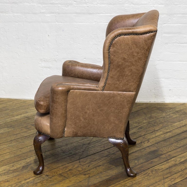 Edwardian Winged Leather Armchair For Sale at 1stdibs