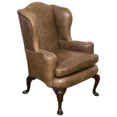 Edwardian Winged Leather Armchair
