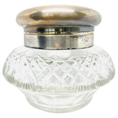 EDWARDIAN Wollenverer Sterling Silver Carved Crystal Vanity Jar