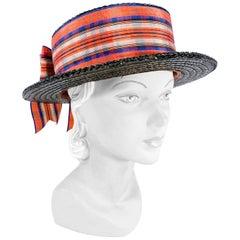 Edwardian Woman's Black Boater Hat