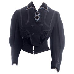 Victorian Black & Blue Wool Newly Lined Jacket With Military Inspired Details