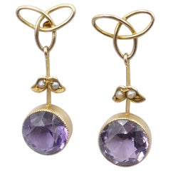 Edwardian Yellow Gold Amethyst and Pearl Earrings