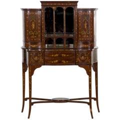 Edwards & Roberts Edwardian Painted Bonheur du Jour Cabinet Console