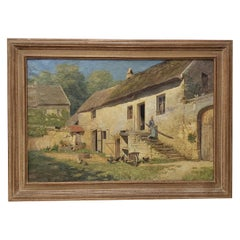 Edwin A Turner Large 19th Century European Farm House Oil Painting