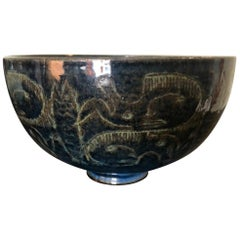 Edwin and Mary Scheier Signed Glazed Ceramic Bowl with Primitive Figures