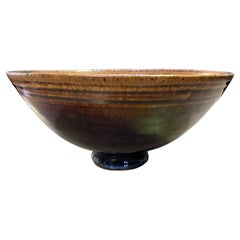 Edwin and Mary Scheier Signed Mid-Century Modern Glazed Ceramic Smiley Face Bowl