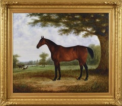 19th Century sporting animal oil painting of a horse with cattle in a landscape
