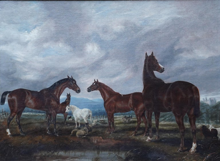 Horses in Landscape - British Victorian art equine animal portrait oil painting - Painting by Edwin Brown