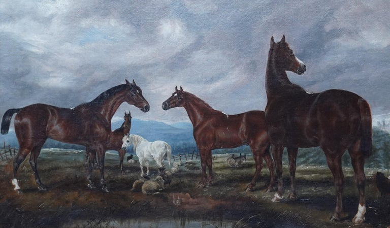 Horses in Landscape - British Victorian art equine animal portrait oil painting - Realist Painting by Edwin Brown