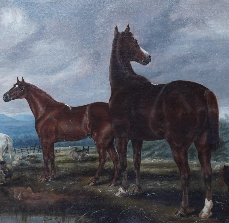 Horses in Landscape - British Victorian art equine animal portrait oil painting - Gray Landscape Painting by Edwin Brown