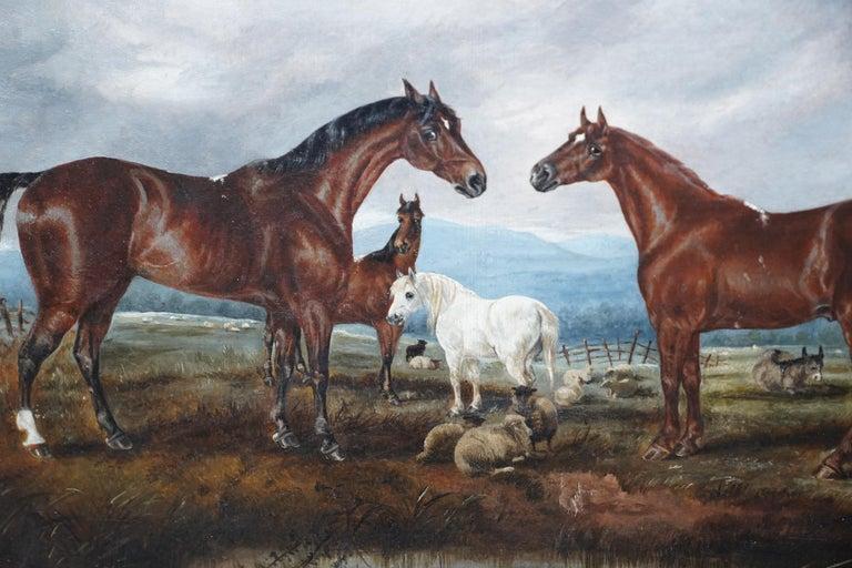 Horses in Landscape - British Victorian art equine animal portrait oil painting For Sale 2