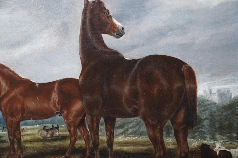 Horses in Landscape - British Victorian art equine animal portrait oil painting For Sale 3