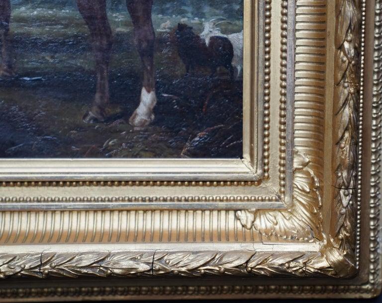 Horses in Landscape - British Victorian art equine animal portrait oil painting For Sale 4
