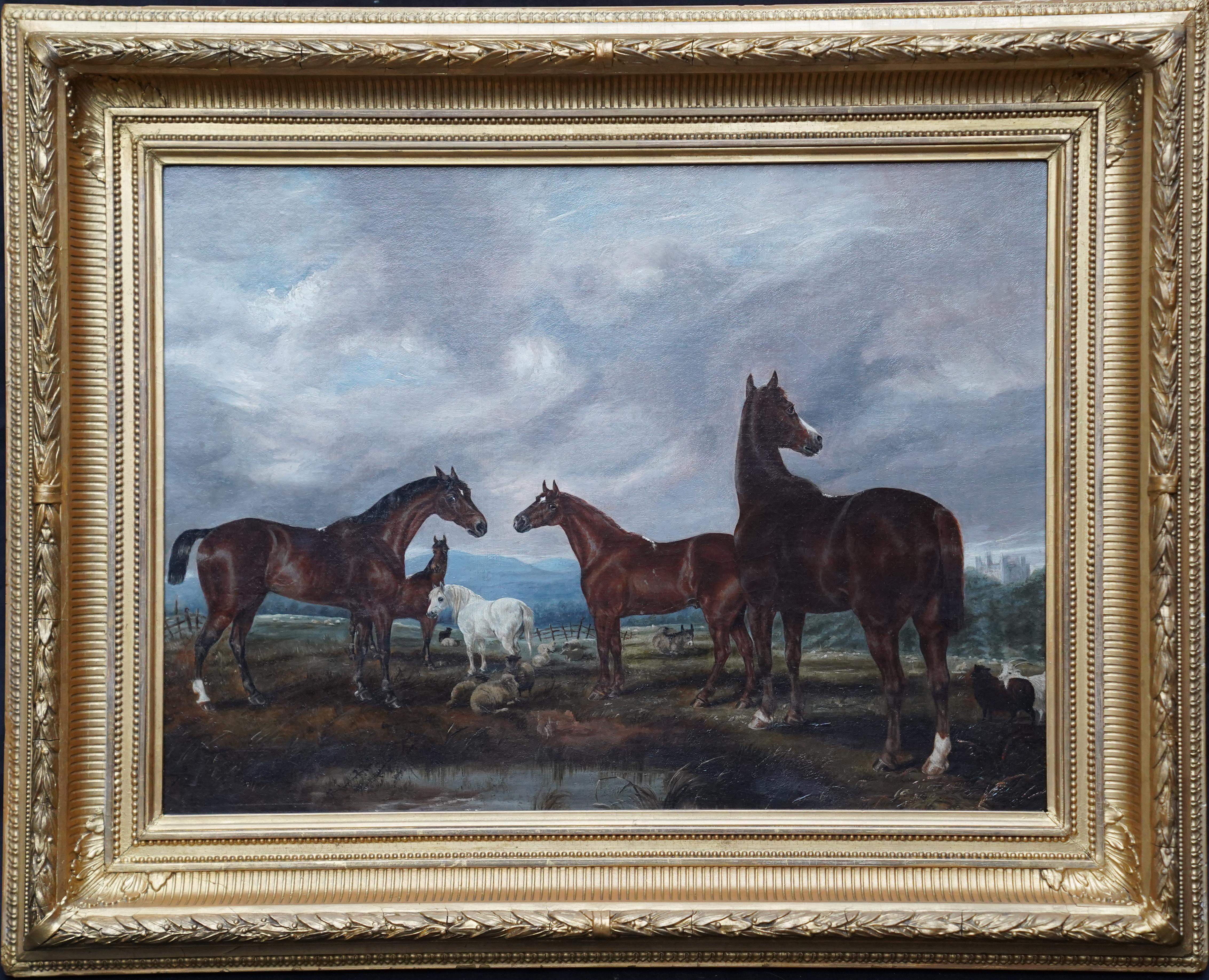 Horses in Landscape - British Victorian art equine animal portrait oil painting