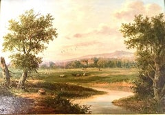 An English River Landscape Victorian 19th Century by Edwin Buttery