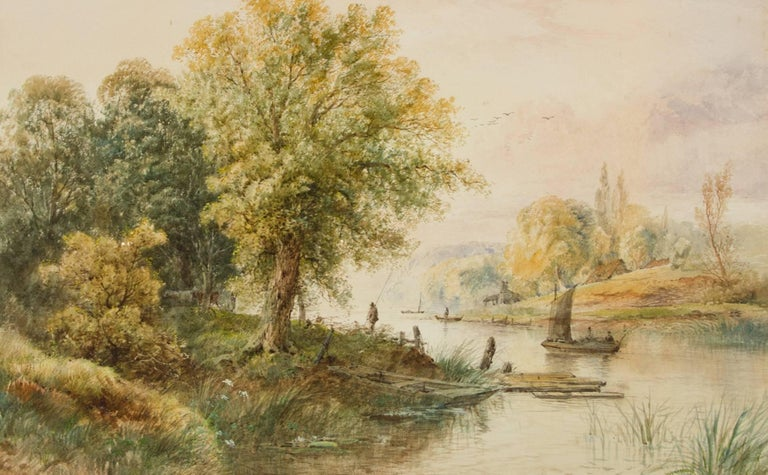 Attributed to Edwin Earp - Gilt Framed Large 19th Century Watercolour, Landscape - Victorian Painting by Edwin Earp