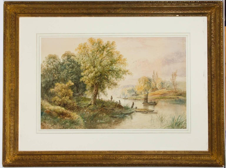 Attributed to Edwin Earp - Gilt Framed Large 19th Century Watercolour, Landscape - Painting by Edwin Earp