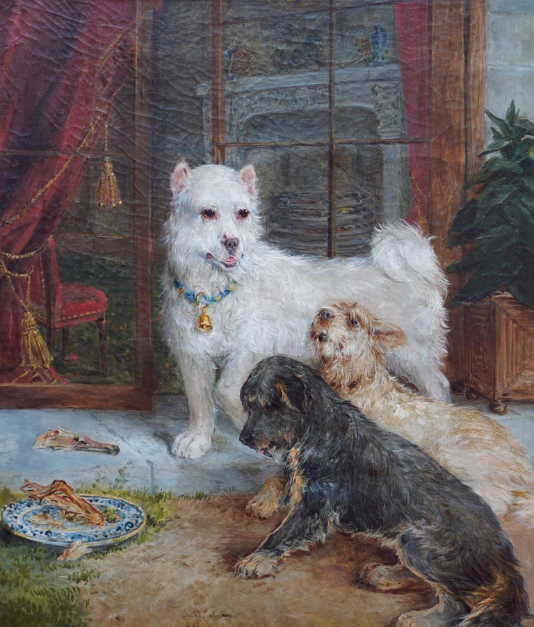 Interior Scene with Dogs - British Victorian art Dog portrait oil painting - Painting by Edwin Frederick Holt