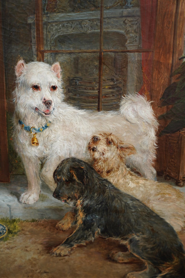 Interior Scene with Dogs - British Victorian art Dog portrait oil painting - Realist Painting by Edwin Frederick Holt